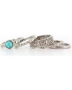 Shyanne Women's Antiqued Silver Tone Ring Set, , hi-res