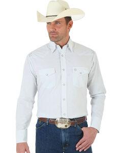 Wrangler George Strait Troubadour Grey and White Jacquard Shirt, , hi-res