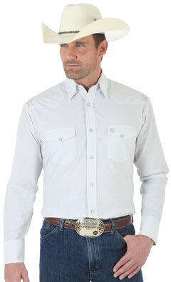 Wrangler George Strait Troubadour Grey and White Jacquard Shirt - Tall, , hi-res