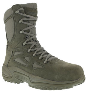 "Reebok Men's Stealth 8"" Lace-Up Side-Zip Work Boots - Composition Toe, Sage, hi-res"