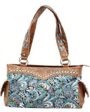 Blazin Roxx Quilted Paisley Satchel Bag, Turquoise, hi-res