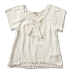 Silver Girls' Crochet Lace Top, Cream, hi-res