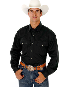 Roper Men's Rugged Twill Snap Western Shirt, Black, hi-res