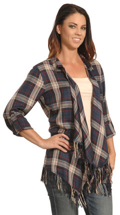 New Direction Women's Blue Plaid Fringe Cardigan , , hi-res