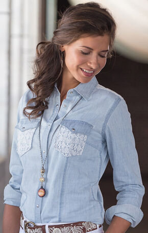 Ryan Michael Women's Indigo & Lace Western Shirt, Indigo, hi-res