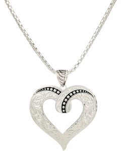 Montana Silversmiths Ribbon Heart Necklace, , hi-res