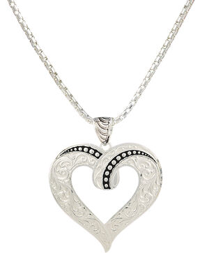 Montana Silversmiths Ribbon Heart Necklace, Silver, hi-res