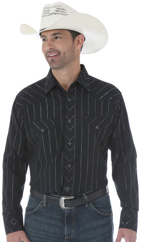 Wrangler Silver Edition Black Snap Shirt with Embroidery, Black, hi-res