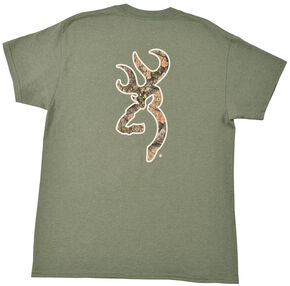 Browning Men's Heather Green Mo Country Buckmark T-Shirt , Loden, hi-res