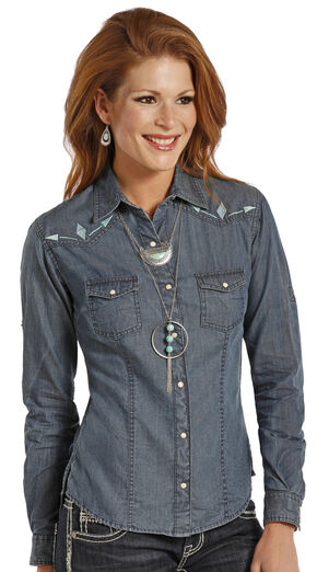 Panhandle Slim Women's Chambray Blanket Shirt, Chambray, hi-res