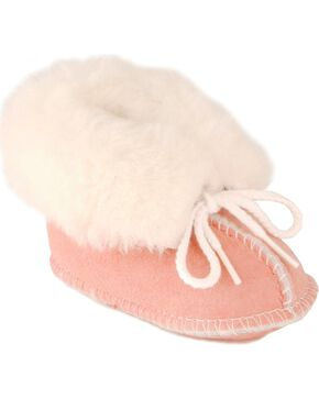 Minnetonka Infant Sheepskin Booties, Pink, hi-res