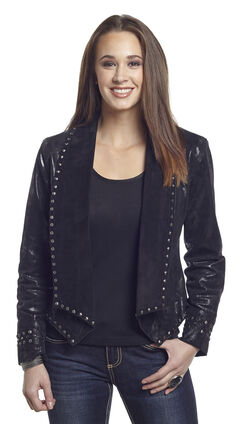 Cripple Creek Women's Studded Metallic Draped Leather Jacket, , hi-res