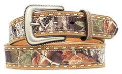 Nocona Mossy Oak Leather Laced Belt, , hi-res