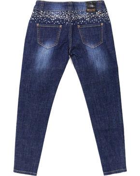 Shyanne® Girls' Rhinestone Studded Skinny Jeans, Blue, hi-res
