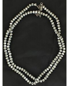 Fancy Silver-Tone Long Beaded Necklace, , hi-res