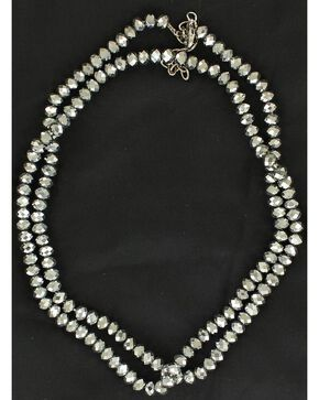 Fancy Silver-Tone Long Beaded Necklace, Silver, hi-res