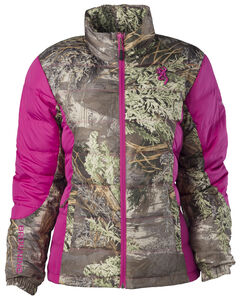 Browning Hell's Belles Coral and Camo Blended Down Jacket, , hi-res
