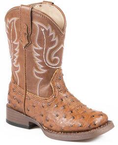 Roper Toddler Ostrich Print Cowboy Boots - Square Toe, , hi-res