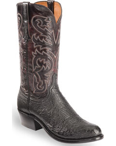Lucchese Men's Black Nathan Smooth Ostrich Western Boots - Round Toe , , hi-res