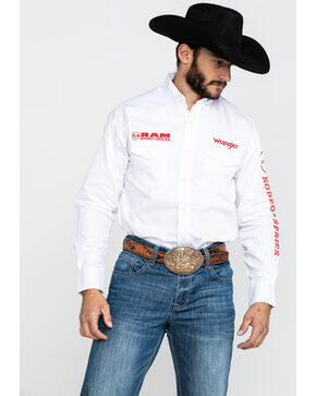 Wrangler Solid RAM Logo Long Sleeve Shirt, White, hi-res