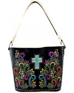 Montana West Spiritual Collection Cut Out Pattern with Color Embroidery Tote, , hi-res