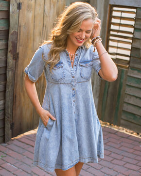 Ryan Michael Women's Indigo Denim Swing Dress , Indigo, hi-res