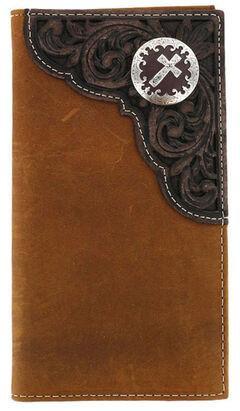 Cody James Men's Tooled Cross Concho Rodeo Wallet, , hi-res