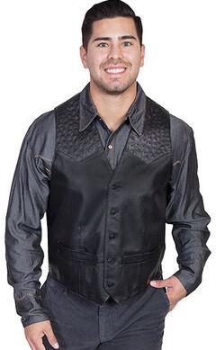 Scully Men's Ostrich Trim Leather Vest, , hi-res