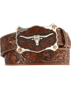 Justin Longhorn Buckle Leather Belt - Reg. & Big, , hi-res