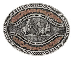 Montana Silversmiths Men's Team Roper Classic Two Tone Attitude Channel Belt Buckle, , hi-res