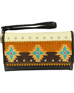 Blazin Roxx Southwest Embroidered Wallet, Black, hi-res