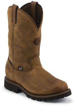 Justin Original Workboots Stag Gaucho Waterproof Insulated Pull-On Work Boots - Soft Round Toe , , hi-res