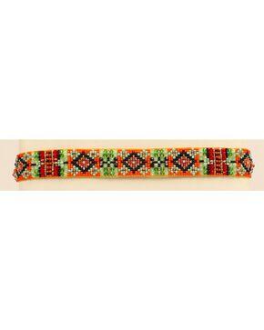 Blazin Roxx Beaded Southwest Headband, Orange, hi-res
