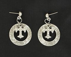 Lightning Ridge Engraved Circle with Cross Charm Earrings, , hi-res