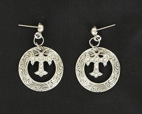 Lightning Ridge Engraved Circle with Cross Charm Earrings, Multi, hi-res