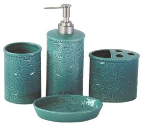 HiEnd Accents Savannah 4-Piece Bathroom Set, Turquoise, hi-res