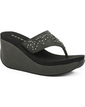Roper Women's Black Studded Faux Leather Wedge Sandals , Black, hi-res
