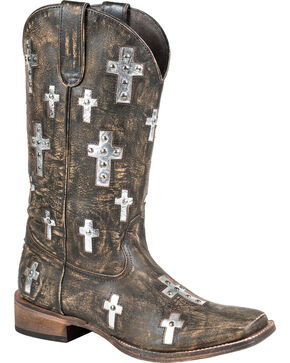 Roper Sanded Cross Cowgirl Boots - Square Toe, Brown, hi-res