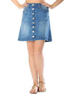 Grace in LA Women's Button Front Denim Skirt, , hi-res