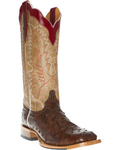 Cinch Men's Full Quill Ostrich Tall Western Boots - Square Toe, Tobacco, hi-res