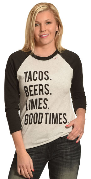 Bohemian Cowgirl Women's Tacos Beers Limes Baseball Tee, Black, hi-res