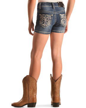 Rodeo Girl Embellished Cross Denim Shorts , Indigo, hi-res