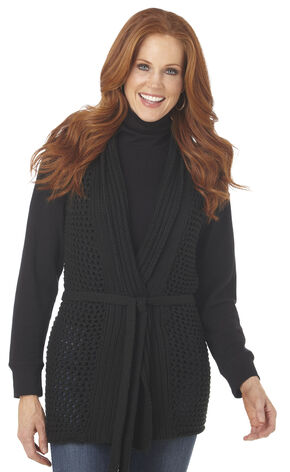 Cripple Creek Women's Belted Crochet Open Front Sleeveless Sweater, Black, hi-res