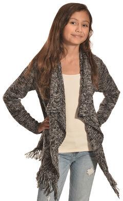 Derek Heart Girls' Black Marled Cable and Fringe Sweater , , hi-res
