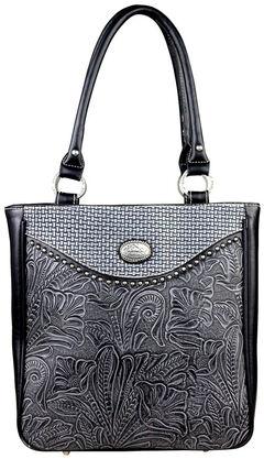 Montana West Black Trinity Ranch Tooled Design Concealed Gandgun Collection Handbag, , hi-res