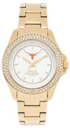 Jack Mason Women's University of Texas Gold-Tone Glitz Sport Bracelet Watch , , hi-res
