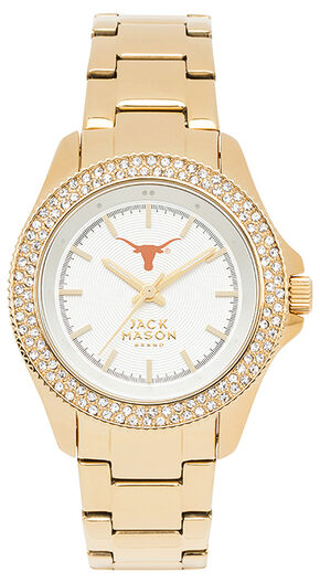Jack Mason Women's University of Texas Gold-Tone Glitz Sport Bracelet Watch , Gold, hi-res