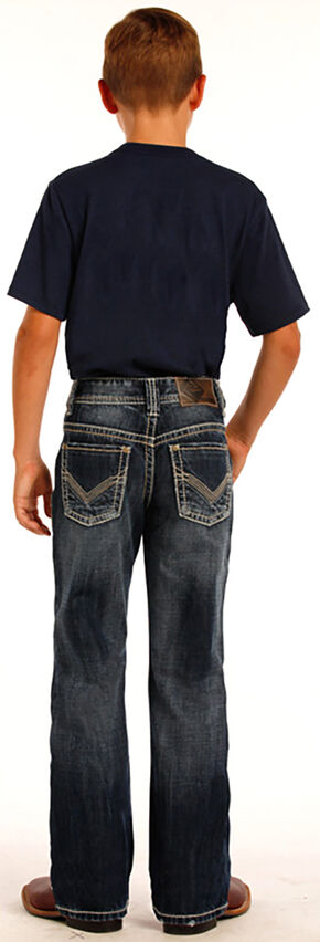 Rock & Roll Cowboy Boys' Indigo Large Khaki and Ivory V Embroidery Jeans - Boot Cut, Indigo, hi-res