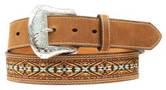 Nocona Colorful Embroidered Leather Belt, Med Brown, hi-res