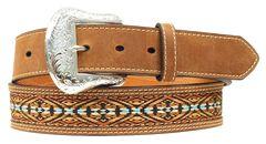 Nocona Colorful Embroidered Leather Belt, , hi-res